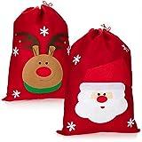 com-four® Bolsa de Regalo 2X XL para Navidad con Motivos navideños - Bolsa de Santa Claus...