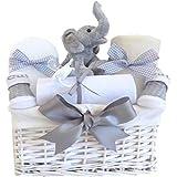 Cesta de regalo de mi primer elefante de peluche, unisex. Personalizable