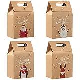 DXLing 12 Piezas Bolsas de Regalos Navidad Reutilizables Bolsas de Papel Kraft Bolsas de Regalo...