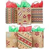 JOYIN 24pcs Bolsas de Regalo Kraft para Navidad Personalizar y Envolver Regalos (18.5x23x9 cm)