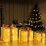 GIGALUMI Juego de 3 cajas de regalo iluminadas Cajas LED preiluminadas con luces LED blancas...