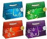TSI - Bolsas de regalo (12 unidades, 4 modelos diferentes), diseño navideño elegante