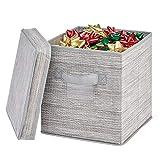 mDesign Caja organizadora con Tapa – Caja de Tela Cuadrada para Adornos navideños, Lazos,...