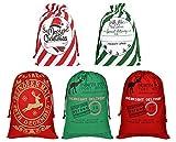 Aoutacc Paquete de 5 Bolsas Grandes con cordón de Papá Noel, Bolsas de Regalo de Papá Noel...