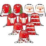 Whaline 10 bolsas de Navidad con cordón grande para regalo de Papá Noel, mochila de regalo...