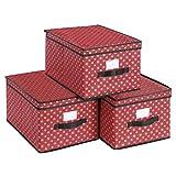 SONGMICS Set de 3 Cajas Plegables con Tapa, Cajas Plegables con Etiquetas para Navidad, Cajas...