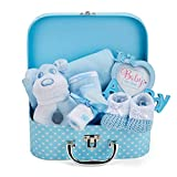 Baby Gift Set - Blue Hamper Box for Baby Boy with Baby Gifts Including a Rattle, Photo Frame,...