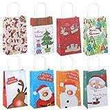 GWHOLE 12 x Bolsas de Regalo Navidad de Papel Kraft con Asa, Dibujos de Papá Noel Alces Guante...