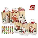 Yucch24 bolsas de regalo de Navidad con 24 etiquetas de regalo de Navidad y pegatinas de...