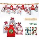Aitsite 24 PCS Bolsa Calendario Adviento Bolsas Dulces Navidad Santa, Bag, 24 Bag de Tela + 48...