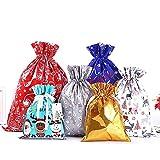 Skystuff 12 bolsas de Navidad con cordón de regalo en 6 tamaños y 6 diseños para fiestas de...