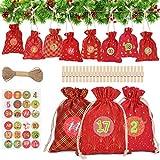 WOKKOL Bolsa de Regalo Navidad, Calendario Adviento, Calendario Adviento Navidad, 24 Calendario...