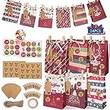 Gafild Bolsas de regalo navidad, 24pcs 6 Estilos bolsas de regalo papel Kraft con 48 Pegatinas...