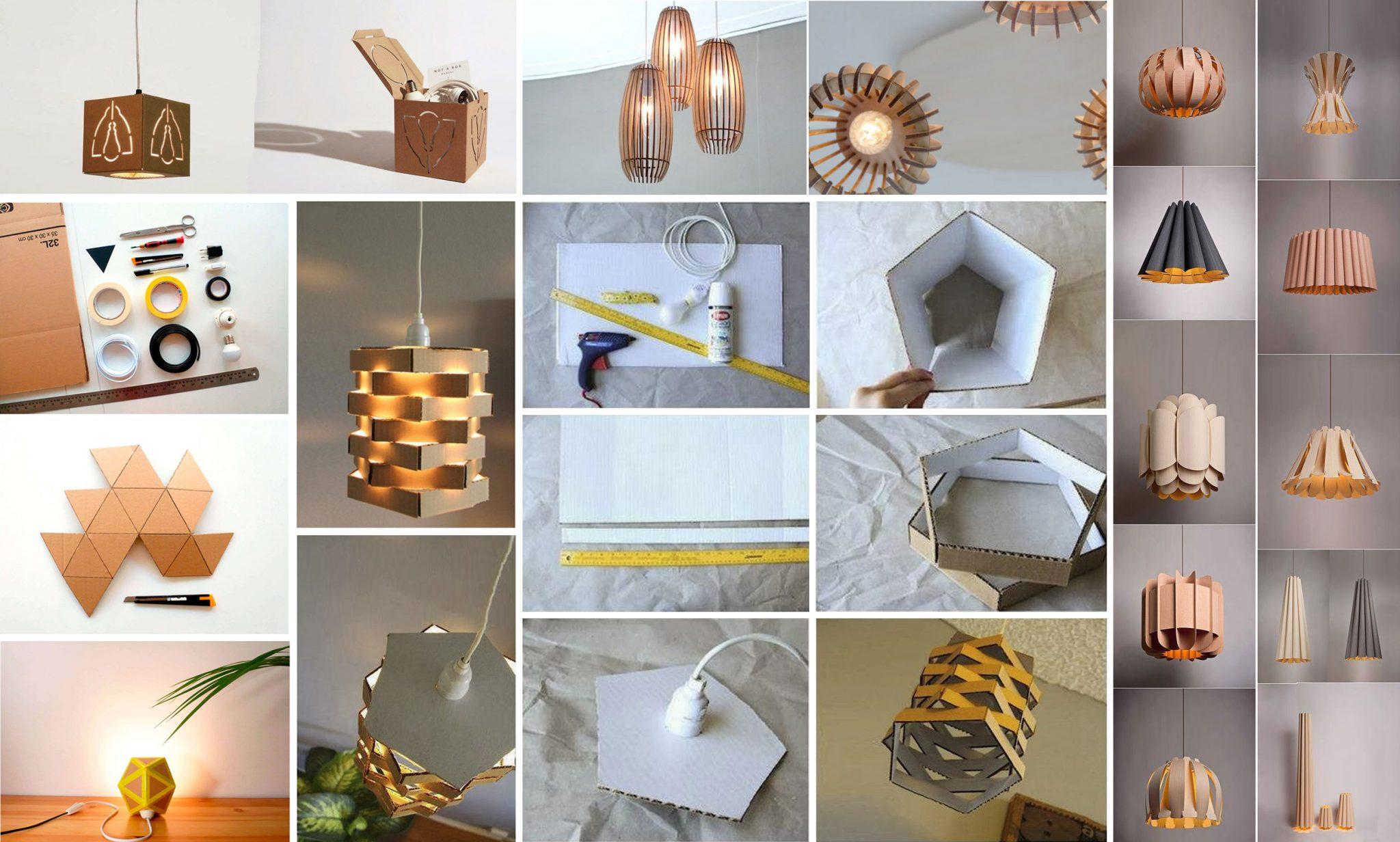 Lámparas con cajas de cartón