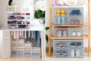 Contenedores de plástico para organizar ropa, zapatos y maquillaje