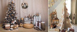 Decoración navideña con cajas y materiales reciclados